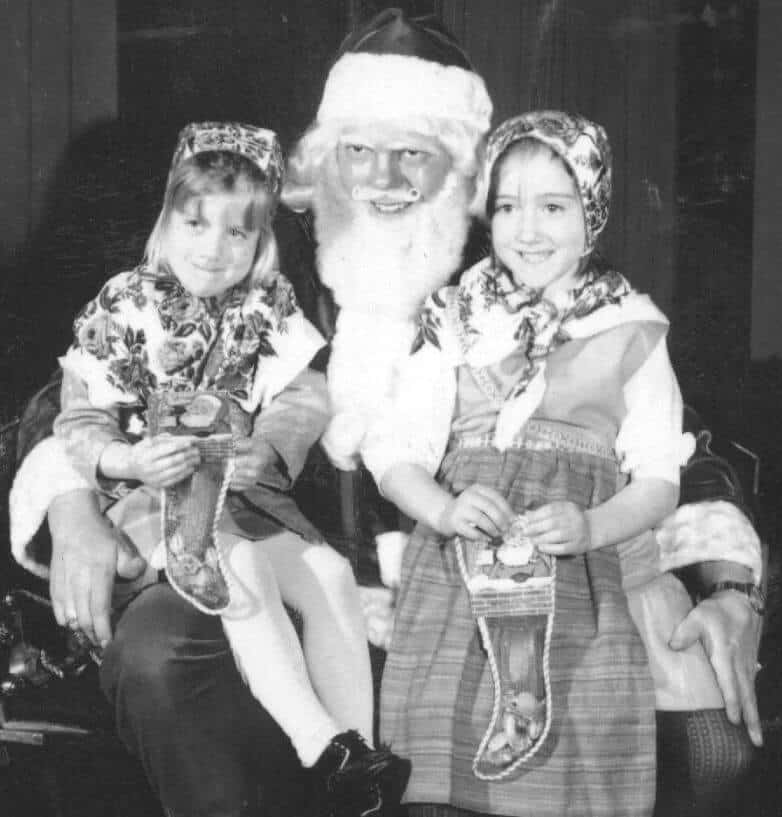 Caroline Hummel Collins and Sonia Hummel after a Lucia Program dressed in Swedish Costumes, Wisconsin