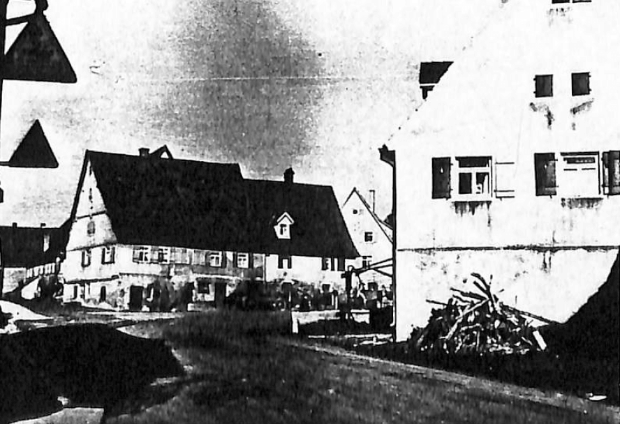 Black and White Photo of the Center of Poppenweiler, Germany in 1952