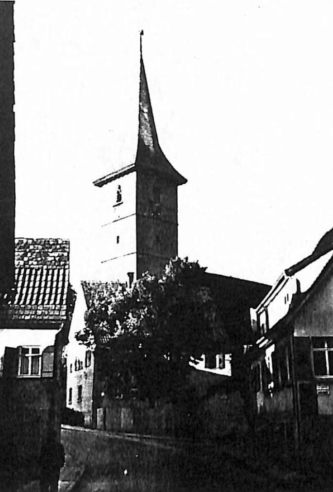 Black and White old photo of Church built by Streckers along the Necker River, Poppenweiler. Germany (1952)