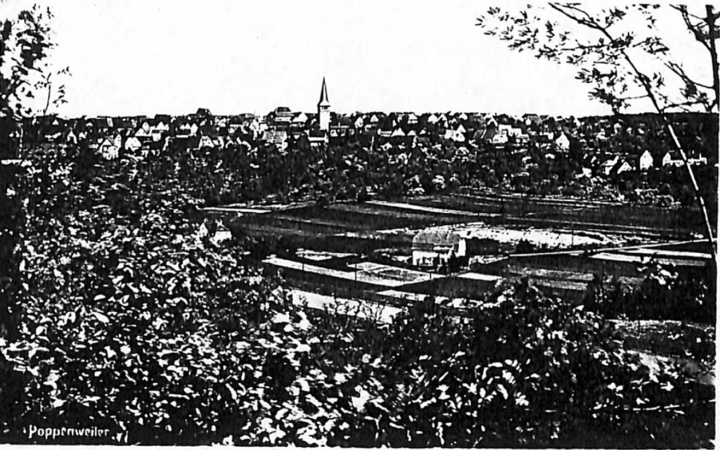 View of Poppenweiler, can see church foreground. 1952